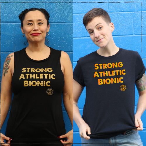 "Strong Athletic got the request for this shirt from Michelle P., a member of the group: ""Roller Derby Injuries- Blood, Sweat, and Tears"". There are many amazing roller derby athletes who have been injured while playing derby and as a result have had to take time off the sport for surgery and rehab. Strong Athletic's very own Blaque Jac is one of these athletes, as well as Cybil Warr, the athlete in the tank top featured in this photo. This shirt was made for all of those skaters, some of whom returned to the track after injury, and others who decided to stay in the sport in a different capacity.  If you've been looking for a roller derby shirt that is about getting injured while playing roller derby, this one is for you."