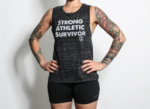 This is the front of the Strong Athletic Survivor Tank Top that we made for all of the strong, badass, amazing survivors in the world. This tank is heather black with white ink. This muscle tank is one of the favorites of the Strong Athletic Community.