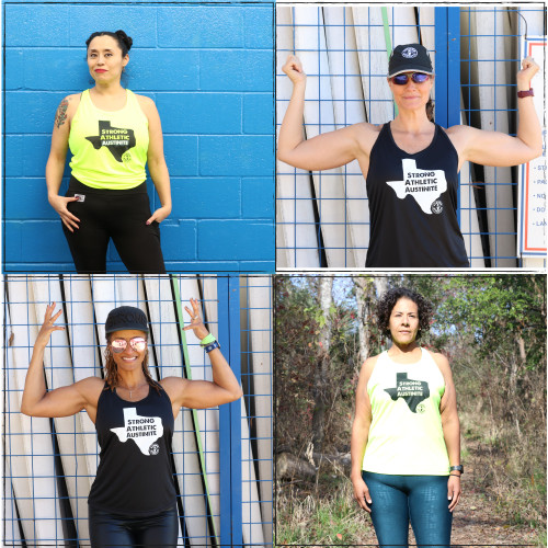 This is the Strong Athletic Austinite Performance Racerback Wicking Tank by Strong Athletic. Choose between two color combos of black fabric with white ink or neon yellow fabric with black ink, or grab both. Tell the world that you're from Austin, Texas, that you're strong and athletic and proud of it.  Strong Athletic is a woman owned and run company based out of Austin, Texas.