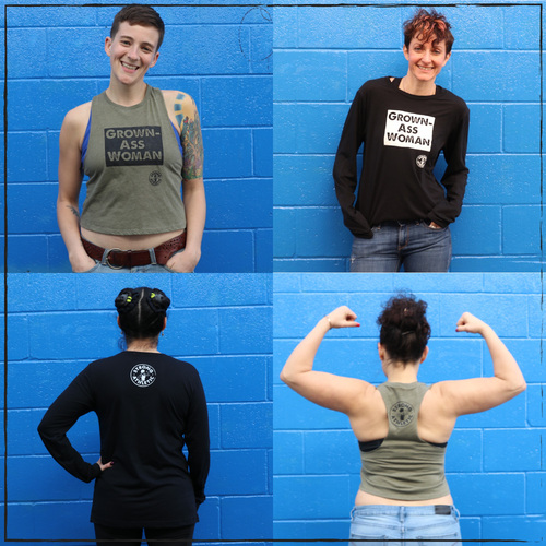 These are the Grown-Ass Woman Crop Top Tank Top and Long Sleeve Crew Neck T-shirt that Strong Athletic created for the amazing members of our community. We created these shirts because at this point in time, women need to make statements such as this one to remind others that we are adults, capable of so much, including making choices for ourselves and speaking up. This shirt has become something like a secret hand shake in our community. When one woman sees another woman wearing this shirt and making the statement that goes along with it- they both know what it means. What is feminism? The feminist movement is really one about equal rights for everybody. It's one that focuses on women and LGBTQIA2S+ rights so that they may be elevated to those of the average man's. We're right there with y'all on this one.
