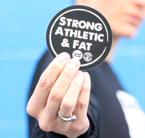 Take the Strong Athletic & Fat design with you everywhere you go with our black and white shiny stickers