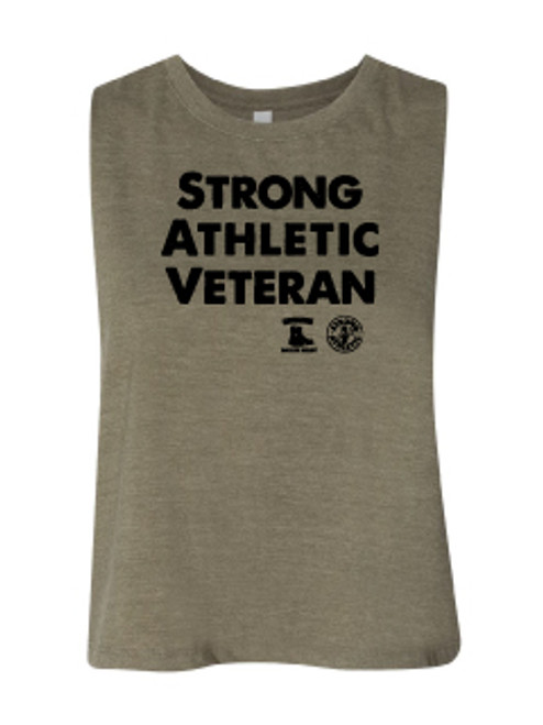 """This is the front of the Strong Athletic Veteran Crop Top. This is considered to be a """"starter crop"""" because it this crop is longer than extremely cropped crops. The Strong Athletic logo and the Battle Buddies logo are printed in black ink on the front of this crop. Strong Athletic partnered with Battle Buddies to make this crop, and a portion of profits will be donated."""