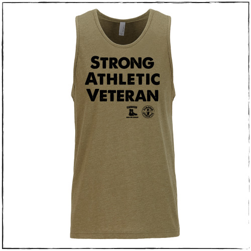 """This is the front of the Strong Athletic Veteran Tank, which was made in collaboration with Strong Athletic and Roller Derby Battle Buddies.   This shirt is an """"all-gender"""" design and it's fit is neutral. If you wear clothing that is in """"men's sizes"""" this shirt will fit true to size. If you wear clothing that is in """"women's sizes"""" this shirt will fit one size larger than what you normally wear. Please check the size chart for more details."""