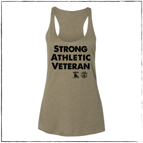 This is the front of the Strong Athletic Veteran Racerback Tank, which was made in collaboration with Strong Athletic and Roller Derby Battle Buddies.   This racerback tank scoops down at the neckline and cuts in on the back to reveal the shoulders.