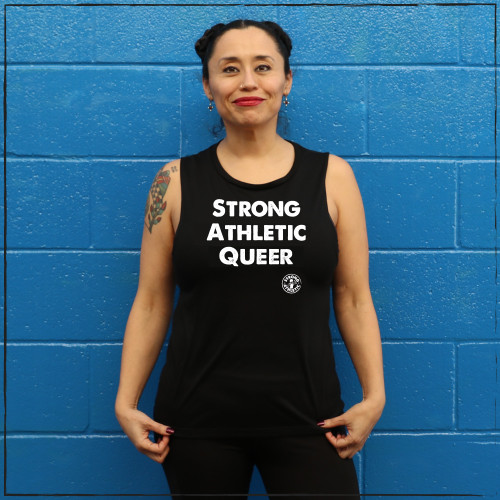 It's so important to speak up and advocate for gay and lesbian athletes. That's why Strong Athletic designed and released the Strong Athletic Queer shirt. This black muscle tank has bright white writing and is the perfect way to get your point across.
