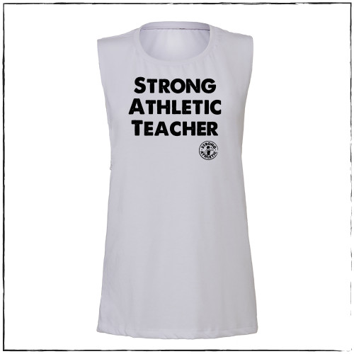 This is the front of the Strong Athletic Teacher Muscle Tank