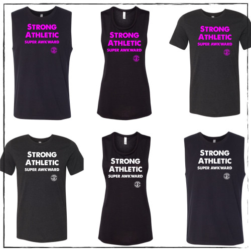 This is the Strong Athletic Super Awkward shirt that Strong Athletic made after requests came in from our community. This seems to be the perfect shirt for people who identify as being super socially awkward. A portion of profits from each shirt sold is donated to the National MS Society. This shirt is made by Strong Athletic the feminist woman owned LGBT company that supports all athletes in sports. This shirt doesn't seem like it's a roller derby shirt, but truly it's birth was within the flat track derby community when Kim of Gallatin Roller Derby posted a photo of her custom shirt on Derby Twitter and everyone went crazy for it. Have you been looking for a shirt that's made especially for awkward people? Well, you've found it.