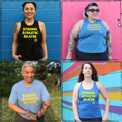 These are the Strong Athletic Skater designs by Strong Athletic. We have a combo of tank tops, racerbacks, crops,  and t-shirts. Plus, you can add stickers! #strongathleticskater , #strongathletic , #strongathleticskaters , #rollerderby , #rampskater , #bowlskater , #streetskater