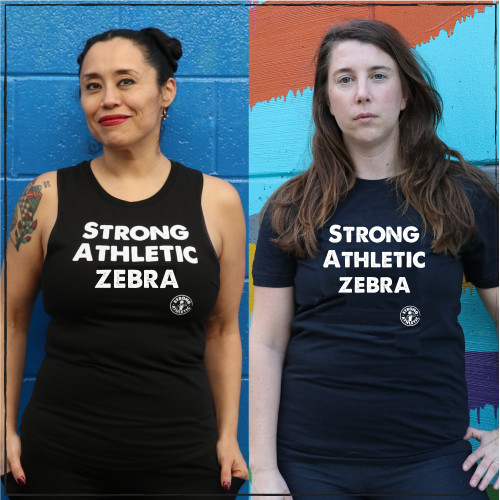 "These are the shirts that Strong Athletic made for the strong humans living with Ehlers Danlos Syndrome. People with EDS often are referred to as Zebras or Medical Zebras, and that is why the group ""Ehlers Danlos Athletes"" chose to have the shirts say Strong Athletic Zebra. Ehlers-Danlos syndrome (EDS) is a disease that weakens the connective tissues of your body. EDS can make your joints loose and your skin thin and easily bruised. It also can weaken blood vessels and organs. A portion of profits from each shirt sold will be donated to the Ehlers-Danlos Society."