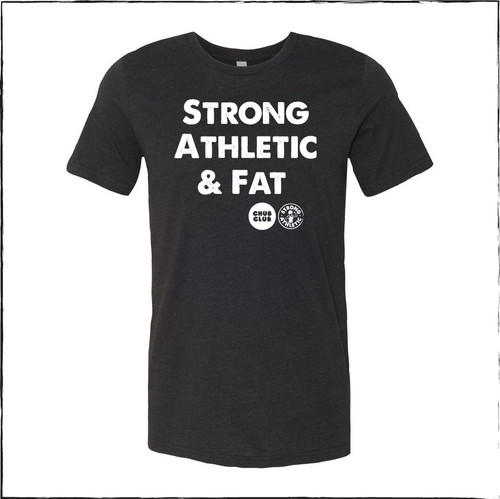 This is the front of the Strong Athletic & Fat Crew Neck T-shirt by Strong Athletic in collaboration with Chub Club.