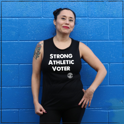 This is the Strong Athletic Voter shirt that Strong Athletic made in celebration of our democratic right to vote. Strong Athletic made this design to encourage people to go out and vote and to be able to make a donation to NAACP's voting initiative.