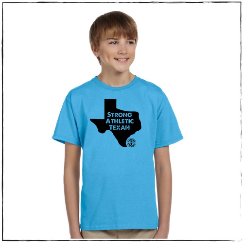 This is the kid's version of the Strong Athletic Texan Crew Neck T-shirt by Austin, Texas based company Strong Athletic. This shirt features an image of the state of Texas, with the words etched out of the shirt printed on a Fruit of the Loom aqua blue t-shirt.  This tee is pre-shrunk and super soft. The fabric is stretchy and the design is the perfect traditional t-shirt cut. This shirt is made by Strong Athletic the USA apparel company that is woman and queer owned.