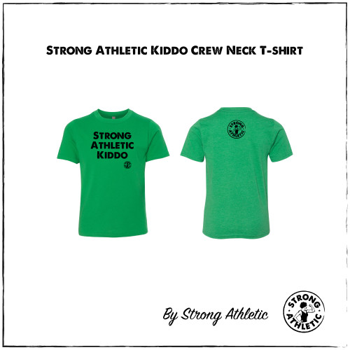 This is the Strong Athletic Kid Shirt by mommy owned company Strong Athletic. We made this shirt for all of the proud kids who love to play sports and athletics and tell the world that the are strong and athletic. This dark green shirt has the words printed in black ink. We print this shirt design on Tultex tees. Strong Athletic is a woman-owned company, our goal is to support women, girls and members of the LGBTQIA2S+ Community in sports.