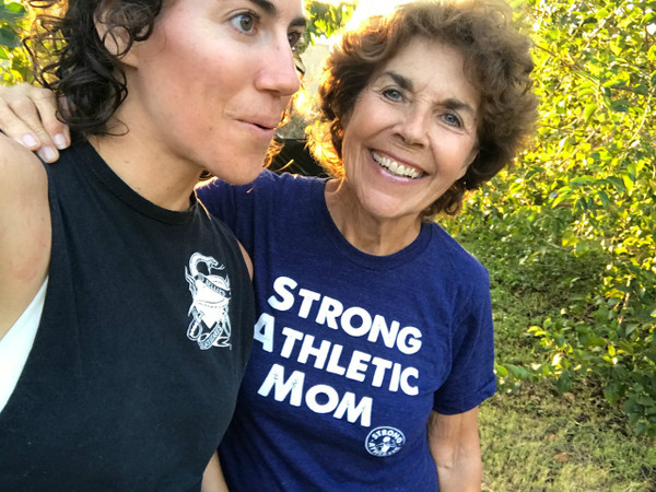 This is my mom Nona. Probably similar to your mom, she's awesome! She always gets the first Strong Athletic Mom shirt and she absolutely loved the Tri-Indigo. Do you have a Strong Athletic Mom? Surprise her with one of these super soft, American Apparel track t-shirts. They are uni-sex, so they typically run larger than the average women's fit shirt. They won't shrink and they will last forever!