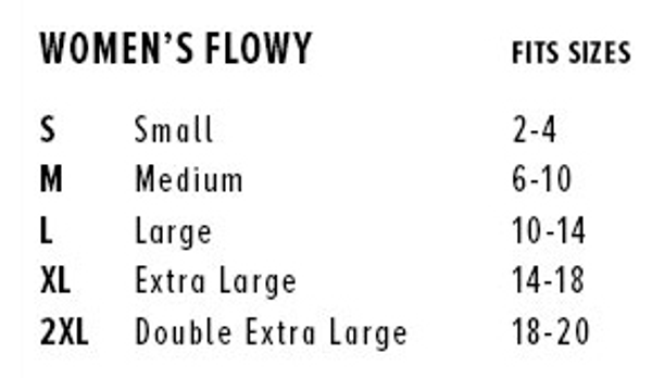 Sizing chart for Bella and Canvas flowy muscle tank