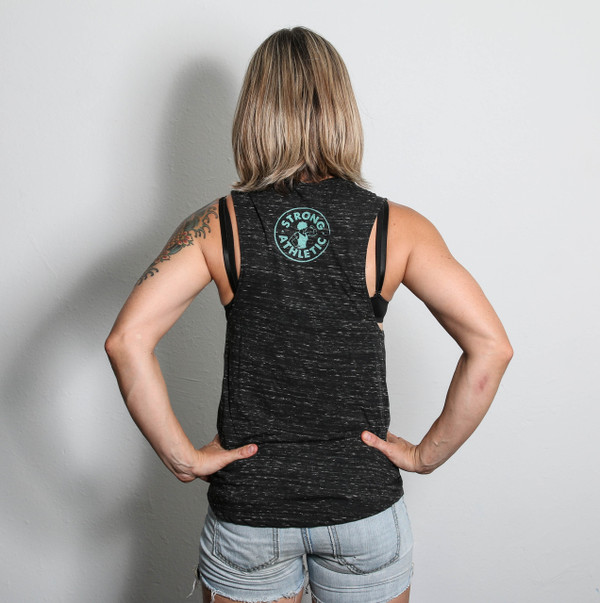 Back view. Strong Athletic Woman. Heather grey flowy muscle tank with Sea-foam writing. See size chart provided to get the perfect fit.