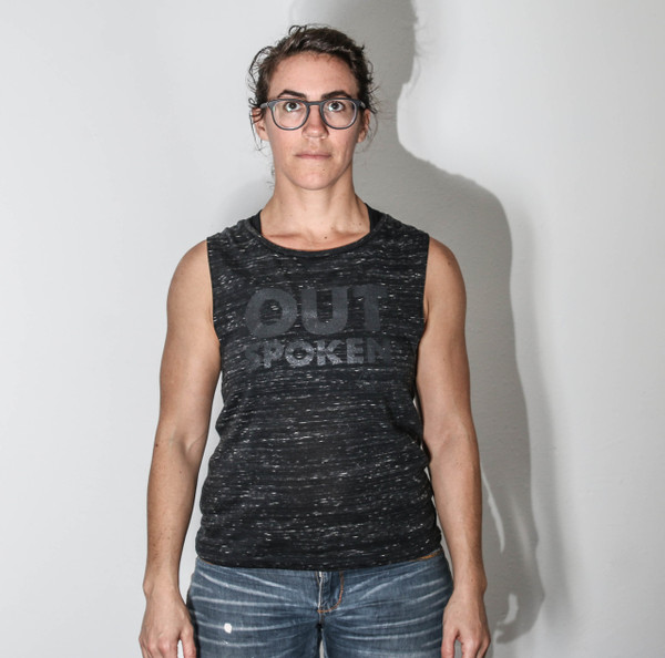 This is the front of the OUTSpoken muscle tank. This black marble Bella and Canvas tank has the words printed in a shiny black ink, so that in some lights you don't see the words at all and in other light they shine super bright. Say what you want in either your actions or your words, or both!