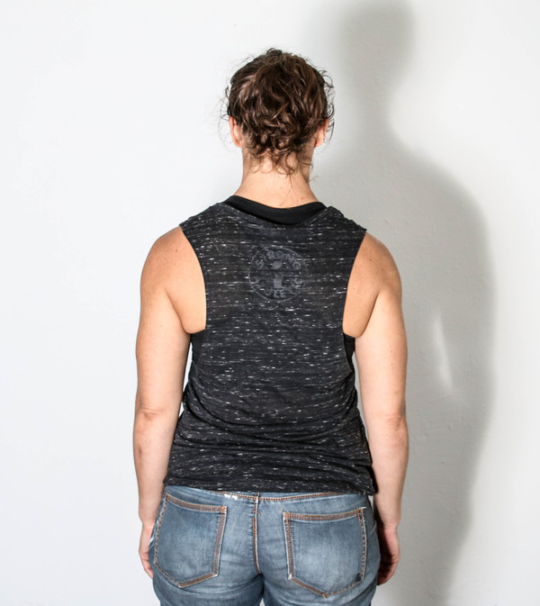 This is the back view of the OUTSpoken muscle tank printed by Strong Athletic.