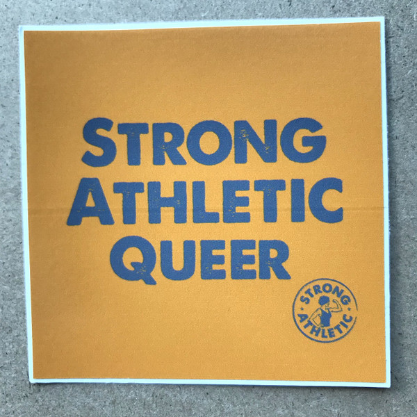 The Strong Athletic Queer sticker is based on the artwork that was one of the original Strong Athletic designs. In the colors of orange and grey, the sticker is representative of the VR, the group that has come to represent all queer derby skaters. We use the hashtag #strongathleticqueer