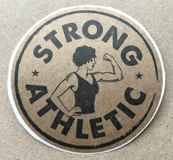 This Strong Athletic sticker is printed in black ink on kraft paper. This is perfect for sticking on anything that you know will stay away from water, which will deteriorate the stickers print-quality quickly.