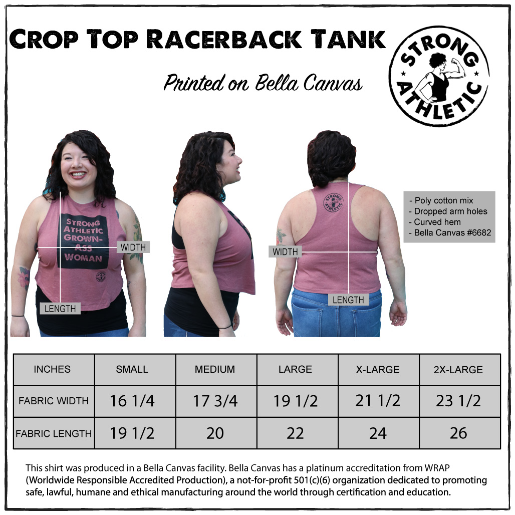 This is the image of the Bella Canvas Crop Top 6682 Size Chart that Strong Athletic Prints on. The woman in the image is wearing the mauve Strong Athletic Grown-Ass Woman Crop. There is a graph with the different sizes and lengths on it.