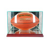 Rectangle football display case in cherry moulding