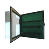 15 Baseball Cabinet Style Display Case Black w/ Green Suede