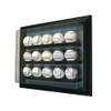 15 Baseball Cabinet Style Display Case Black w/ Grey Suede