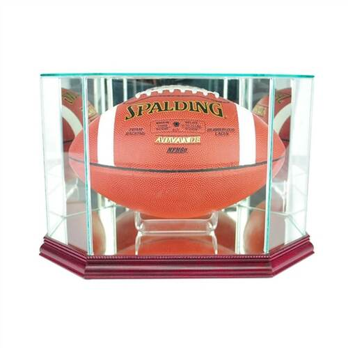 Octagon Football Display Case with Cherry Moulding