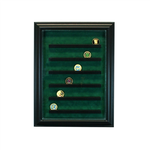 36 Coin Cabinet Style Display Case Black w/ Green Suede