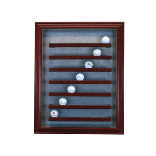 49 Golf Ball Cabinet Style Display Case Cherry w/ Grey Suede