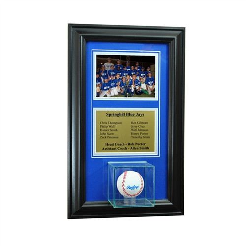 Wall Mounted Baseball Case with 5x7 and Engraving Plate for Team Award