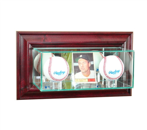 Wall Mounted Card and Double Baseball Display Case