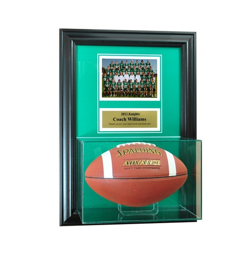 Wall Mounted Football Case with 5x7 and Engraving Plate for Individual Award
