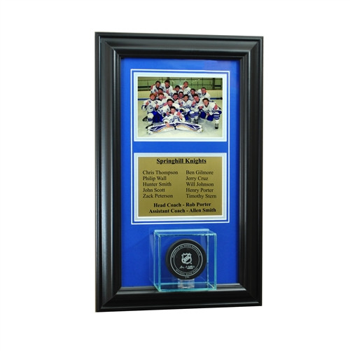 Wall Mounted Hockey Puck Case with 5x7 and Engraving Plate for Team Award