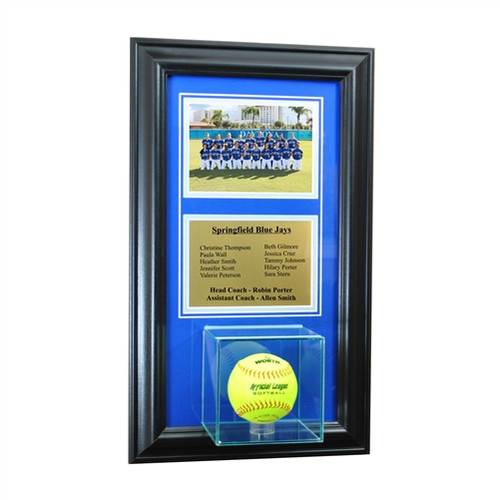 Wall Mounted Softball Case with 5x7 and Engraving Plate for Team Award