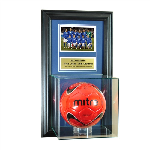 Wall Mounted Soccer Case with 5x7 and Engraving Plate for Individual Award