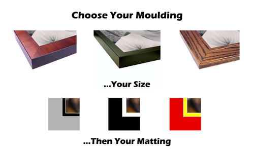 Custom Picture Framing Online.  Design your picture frame and get free shipping.  Choose your moulding, enter your size and select your matboard colors.