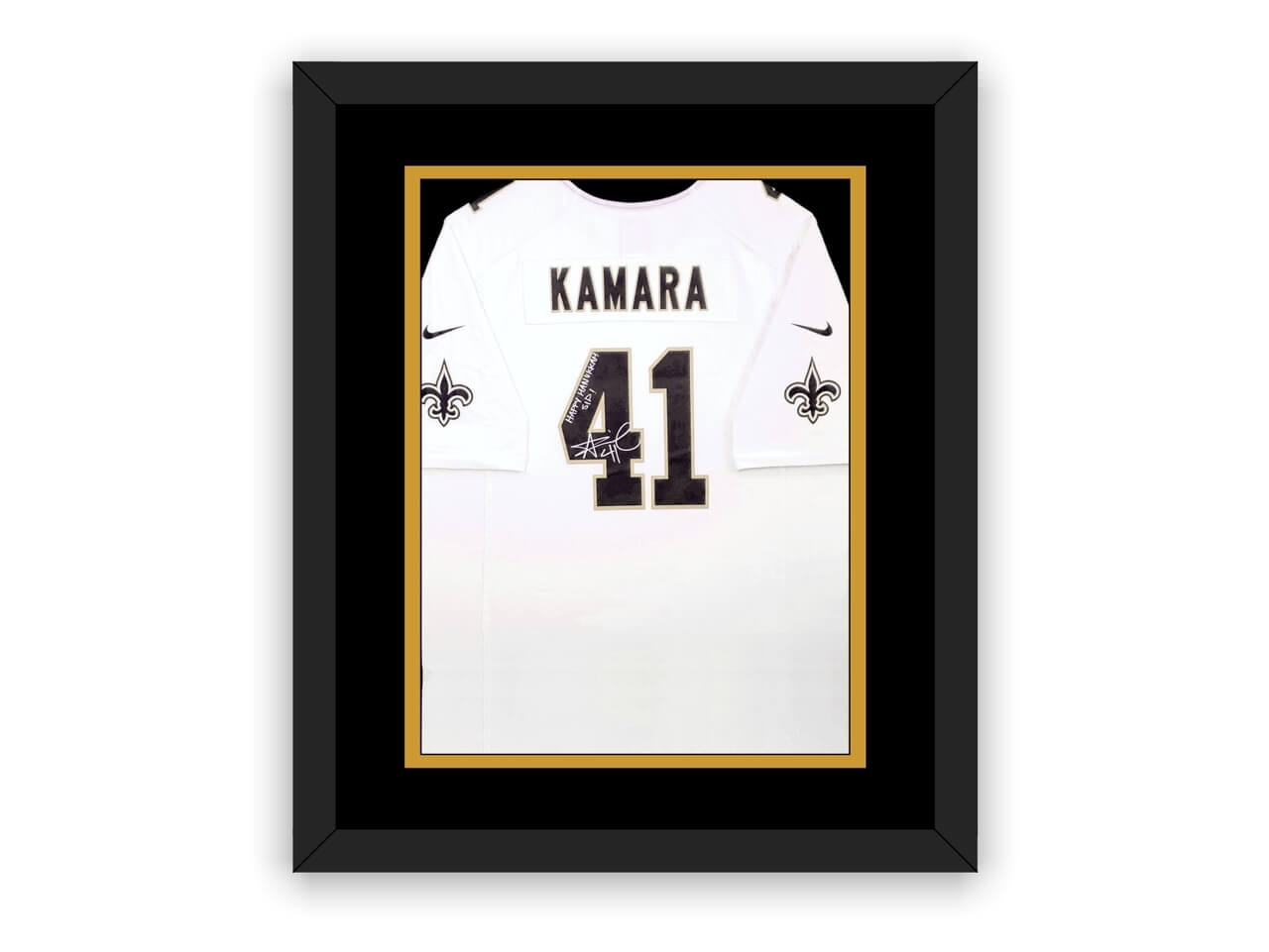 A full-size jersey in a display frame