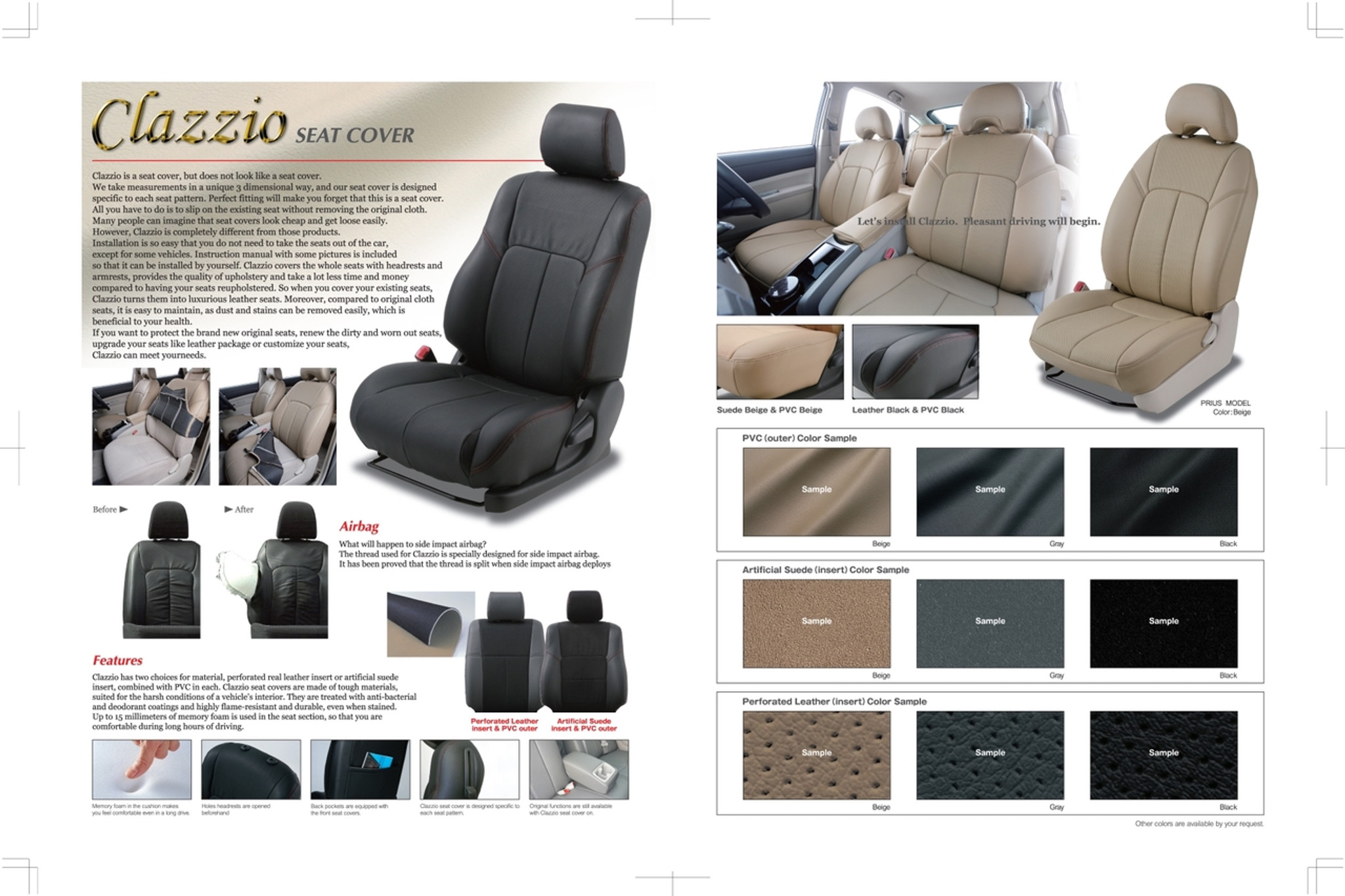 Clazzio Leather Seat Covers For 2012 2017 Toyota Prius C