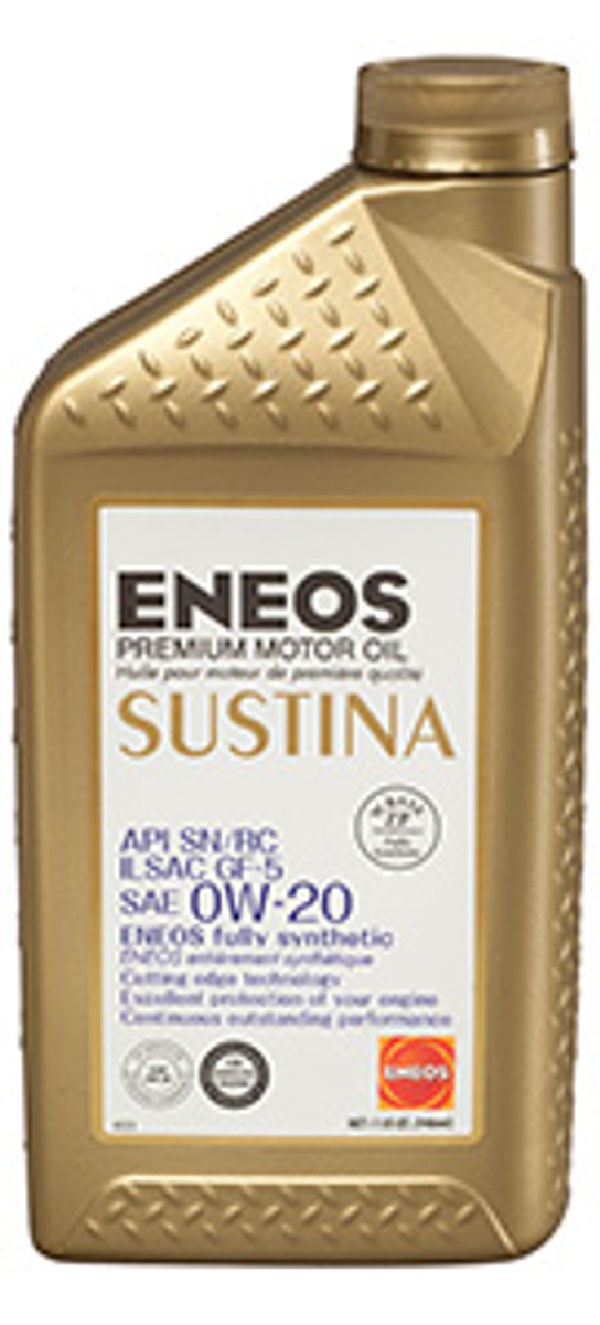 ENEOS SUSTINA Premium Motor Oil 0W-20 - 1 Quart Bottle, (Case of 6)