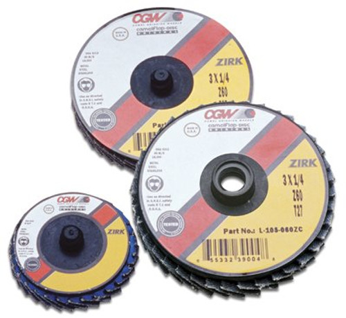 421-30011 | CGW Abrasives Flap Discs, Mini, Zirconia, Quick Change, Type R