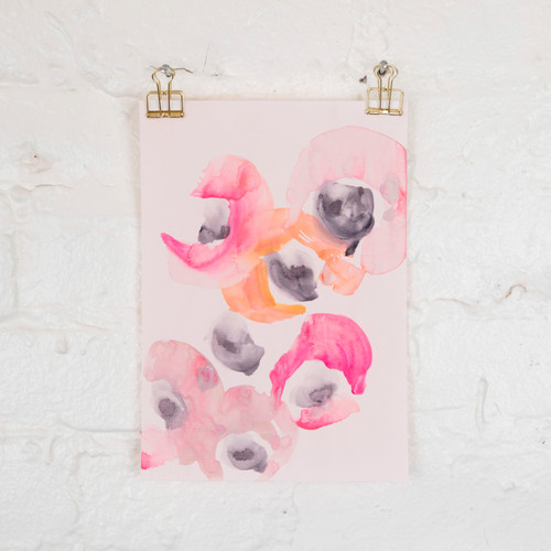 Flowers on Pink Paper, I