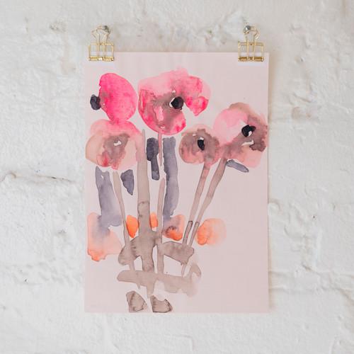 Flowers on Pink Paper, III