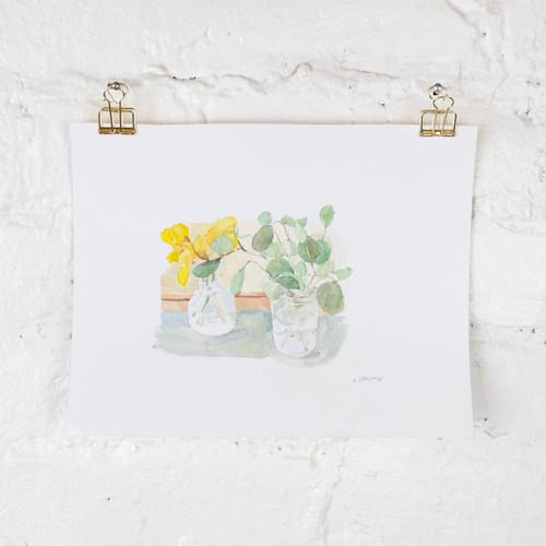 Daffodils and Eucalyptus