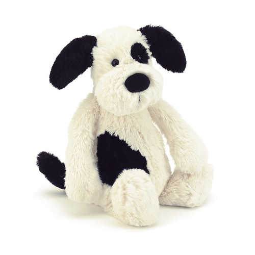 Bashful Large Black & Cream Puppy