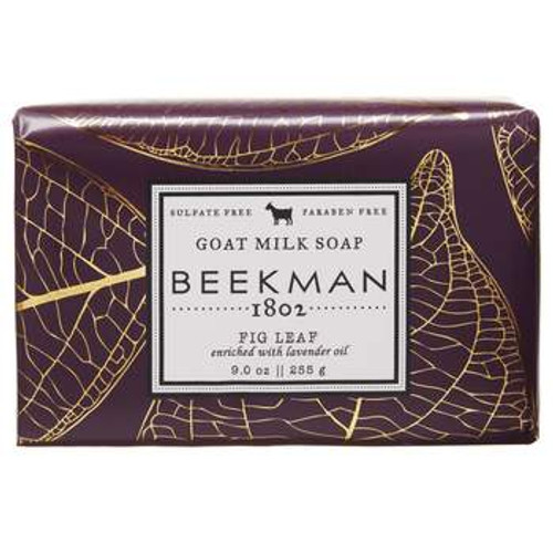 Details Enriched with lavender oil which gives lasting moisture to this creamy goat milk soap bar. Scented with notes of fig leaves, fig nectar, and fig wood. Like all our soaps & skincare products, we try to eliminate harmful chemicals while featuring botanical based ingredients from farms - not labs....