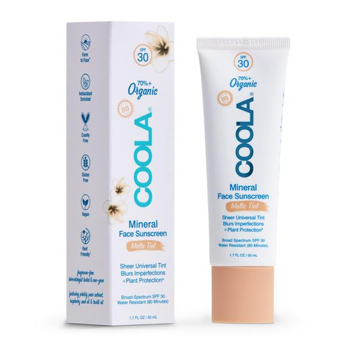 Coola Mineral Face Sunscreen 70% organic, sheer universal tint, blurs imperfections, SPF 30, line-smoothing