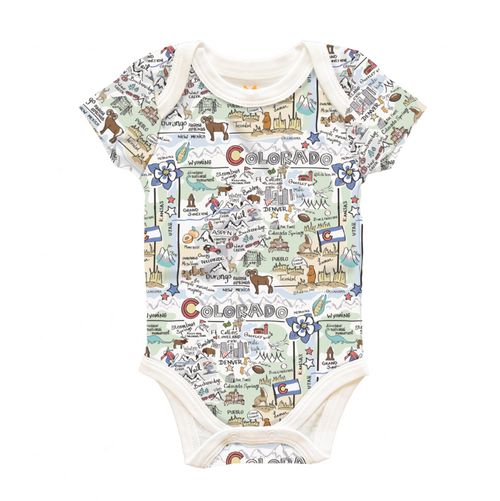 silky soft baby one-piece. Other features include:  -- Colorado state print  -- Printed back neck label for added comfort  -- Snaps are CPSC-certified   -- 100% Pima Cotton  -- Made in Peru