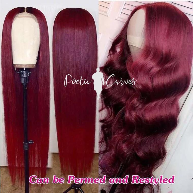 4x4 Burgundy Straight Brazilian Lace Wig